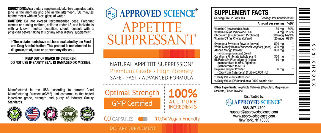 Approved Science<sup>®</sup> Appetite Suppressant Supplement Facts