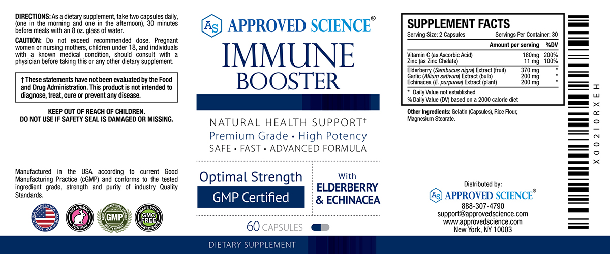 Approved Science<sup>®</sup> Immune Booster Supplement Facts